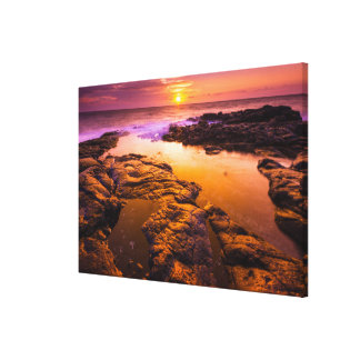 Sunset over tide pools, Hawaii Canvas Print