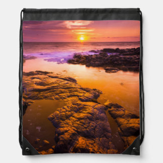 Sunset over tide pools, Hawaii Drawstring Bag