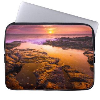 Sunset over tide pools, Hawaii Laptop Sleeve