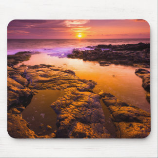 Sunset over tide pools, Hawaii Mouse Pad