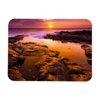 Sunset over tide pools, Hawaii Rectangular Photo Magnet