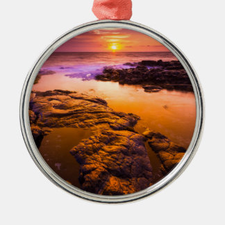 Sunset over tide pools, Hawaii Silver-Colored Round Decoration