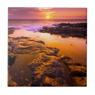 Sunset over tide pools, Hawaii Small Square Tile