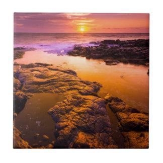 Sunset over tide pools, Hawaii Tile