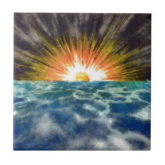 Sunset Over Water Small Square Tile