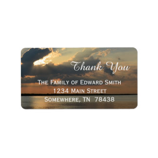 Sunset over Water Thank You Address Label
