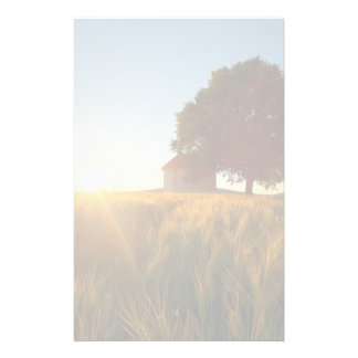 Sunset Over Wheat Field Stationery Paper