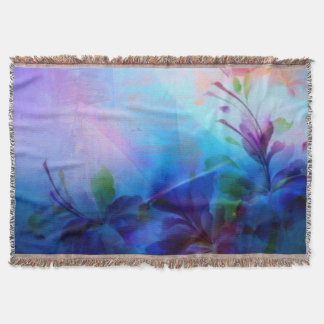 Sunset Painterly Floral Throw Blanket