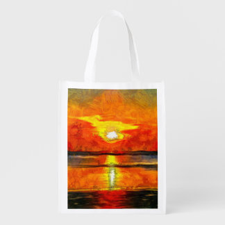 Sunset painting reusable grocery bag