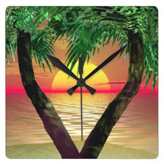 Sunset Palm Frame Wall Clock