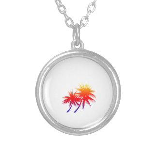 sunset palm round pendant necklace