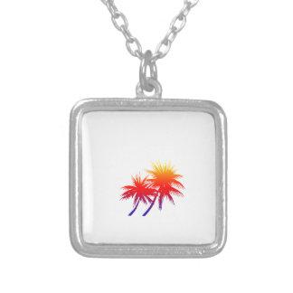 sunset palm square pendant necklace