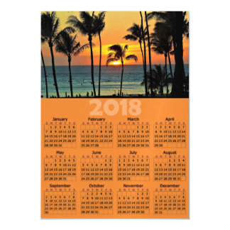Sunset Palm Tree 2018 Calendar Magnetic Photo Card