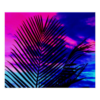 Sunset Palm Tree Poster
