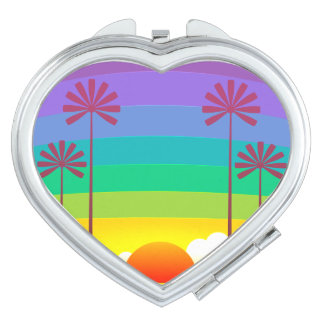 Sunset & Palm Trees  Heart Compact Mirror