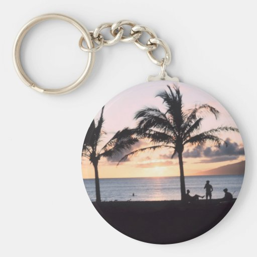 Sunset Palm Trees Keychains