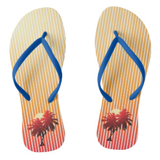 Sunset Palm Trees Tropical Vacation Thongs