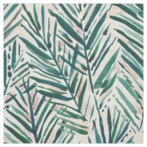 SUNSET PALMS Blush Tropical Print Fabric