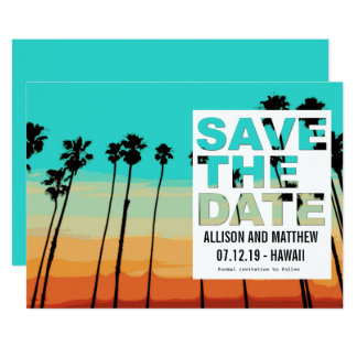 Sunset Palms Modern Beach Save the Dates Card