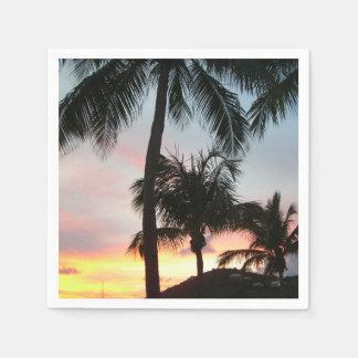 Sunset Palms Tropical Landscape Photography Paper Serviettes