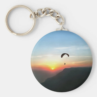 Sunset Paraglide Basic Round Button Key Ring