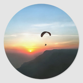 Sunset Paraglide Classic Round Sticker