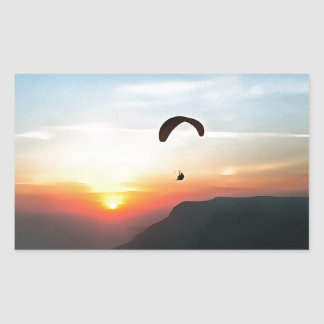 Sunset Paraglide Rectangular Sticker