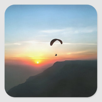 Sunset Paraglide Square Sticker