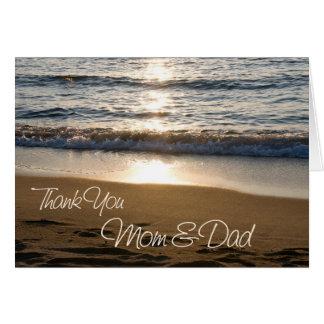 Sunset Parents Wedding Day Thank You Card