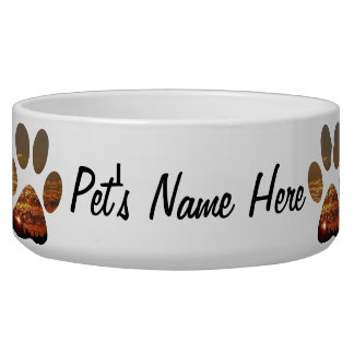 Sunset Paw Print Large Pet Bowl