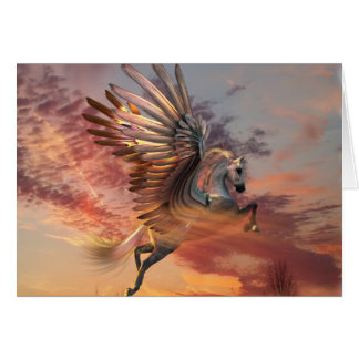 "Sunset Pegasus Card 5"" x 7"" Std wht envelope incl"