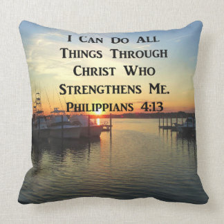 SUNSET PHILIPPIANS 4:13 SCRIPTURE DESIGN CUSHION