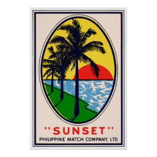 Sunset Philippine Match Company, LTD Label Poster
