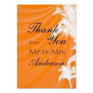 Sunset Plam Trees Wedding Thank You 9 Cm X 13 Cm Invitation Card