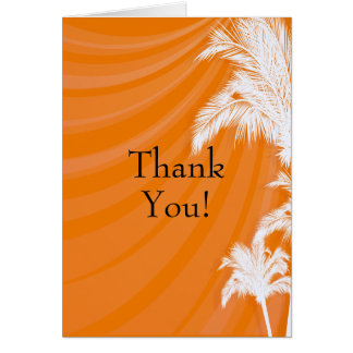 Sunset Plam Trees Wedding Thank You Greeting Card