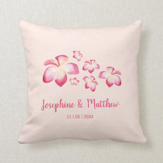 Sunset Plumeria Pink Watercolor Wedding Cushion