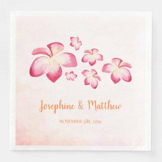 Sunset Plumeria Pink Watercolor Wedding Paper Napkins