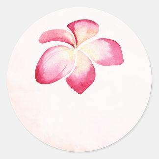 Sunset Plumeria Watercolor Wedding Favor Stickers