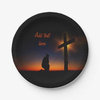 Sunset Prayer at the Cross Paper Plate