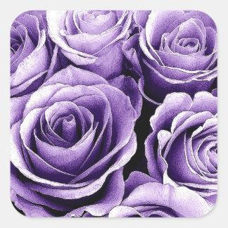 SUNSET PURPLE Rose - Wedding Envelope Seal Square Sticker