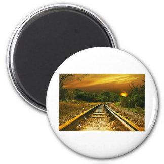 Sunset Rails 6 Cm Round Magnet
