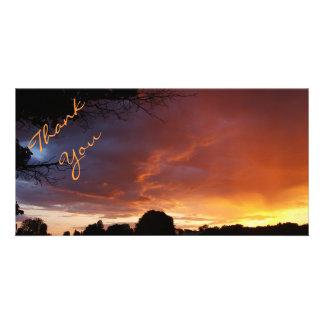 Sunset Rainbow Clouds Customized Photo Card