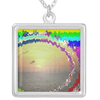 Sunset Rainbow n Golden Sky Square Pendant Necklace