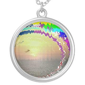 Sunset Rainbow n Golden Sky Round Pendant Necklace