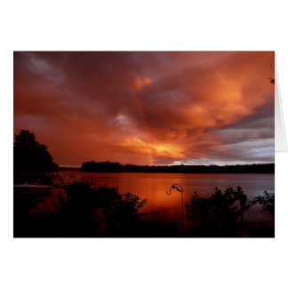 Sunset  Rainbow, On The Lake Greeting Card