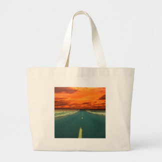 Sunset Red Road Sky Tote Bags