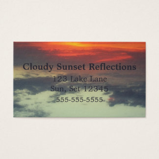 Sunset Reflections Lake Michigan Cloudy Seascape Business Card