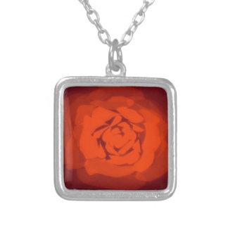 Sunset rose square pendant necklace