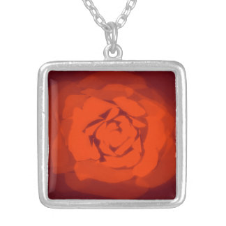 Sunset rose square pendant necklace