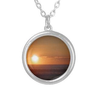 sunset round pendant necklace